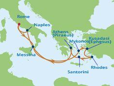 Celebrity 10 Night Italy and Greece Cruise Sept. 30, 2016 - Rome, Italy; Sicily, Italy; Mykonos, Greece; Ephesus, Turkey; Rhodes, Greece; Santorini, Greece; Athens, Greece; Naples, Italy; Rome, Italy