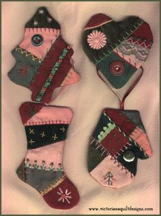 Crazy Quilt Ornaments Pattern.  http://www.victorianaquiltdesigns.com/VictorianaQuilters/PatternPage/CrazyQuiltOrnaments/CrazyQuiltOrnaments.htm #quilting