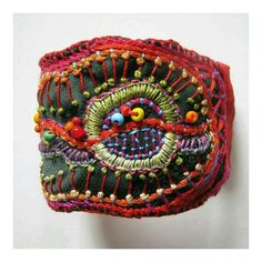 Hand embroidered and beaded cuff by Madrigal Embroidery Fabric Bracelets, Embroidery Bracelets, Beaded Embroidery, Embroidery Patterns, Hand Embroidery, Fiber Art Jewelry, Textile Jewelry, Fabric Jewelry, Jewelry Art