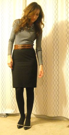 my closet: grey turtleneck (kohls).  black skirt (hm).  [black tights: target ... might not need].