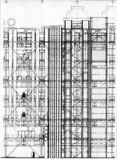 "hiddenarchitecture: "" Centre Pompidou , Paris, France, 1971-1977 - Piano + Rogers Competition and Development drawings """