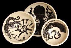 Cephalopod Nesting Bowl Set Octopus Nautilus Squid by rhoneypots, $89.00