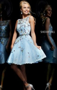 Open-Back Beaded Sherri Hill 4305 Cheap Light Blue/Multi High-Neck Short Lace Prom Dresses