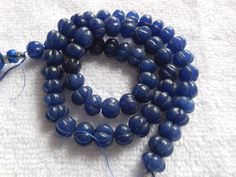 """10"""" long strand Blue Quartz Carved Round Beads,Mughal Carved Melon Beads,Carvin Beads,Jewelry making beads by InternationalByBeads on Etsy"""