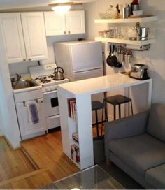 Great way to give a tiny kitchen more space