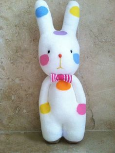 "Rattle Handmade rainbow spotted bunny socks doll with pink ribbon 10.5"" for baby"