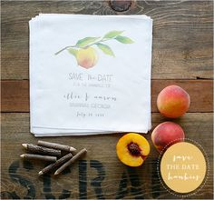 peach save the date hankies, can't get over the cuteness!