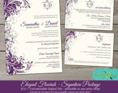 Purple & Gray Flourish Wedding Invitation Shower by TheFunkyOlive