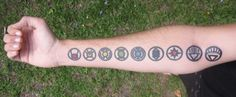 Man, that's brave.  I love the Green Lantern mythos, but not enough to get all the lantern symbols tattooed on my arm...