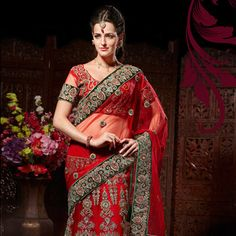 Red Net Lehenga Style Saree with Blouse Lehenga Style Saree, Net Lehenga, Lehenga Choli, Red Saree, Silk Sarees, Indian Bridal Wear, Indian Wedding Outfits, Wedding Sari, Embroidery