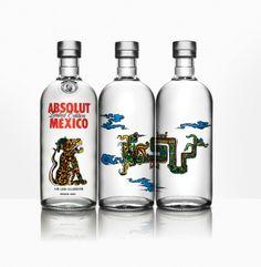 AbsolutMéxico | Magnífico trabajo de Dr. Lakra para Absolut. 3botellas inspiradas en la cultura maya.