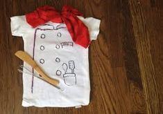 Baby Chef - 5 Halloween Costumes to Make from Everyday Baby Clothes Halloween Costumes To Make, Theme Halloween, Baby First Halloween, Halloween Kids, Onesie Costumes, Cute Costumes, Costume Ideas, Premier Halloween, Chef Costume