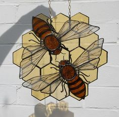Love this stained glass sun catcher with bees and comb pattern!!