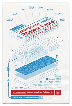 Exploded view poster illustration for the 2015 Vancouver Mini Maker Faire. I built a fictitious exploded view diagram around their logo to represent the intersection of creativity and technical skill within the Maker community. | by Ben Didier