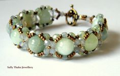 "Aquamarine ""Hugs & Kisses"" Style Beaded Bracelet Sally Thake Jewellery on Etsy"