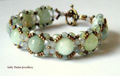 "Aquamarine ""Hugs & Kisses"" Style Beaded Bracelet Sally Thake Jewellery on Etsy"