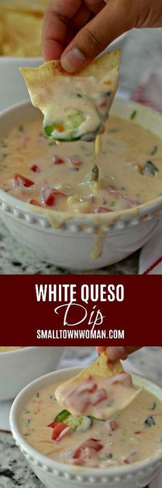 White Queso Dip is Mexican restaurant quality creamy dipping cheese that is perfect with tortilla chips or spooned over your favorite burrito. Appetizer Dips, Appetizers For Party, Appetizer Recipes, Snack Recipes, Cooking Recipes, Party Snacks, Wine Appetizers, Mexican Appetizers, Parties Food