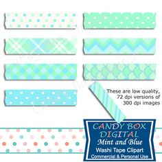 Mint and Aqua Digital Washi Tape Clipart by CandyBoxDigital. Great for digital scrapbooks and journals, blogs and websites. At our Etsy shop.