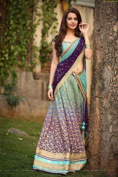 Bhargavi kunnam saree designs, diksha panth in half saree% Half Saree Designs, Blouse Designs, Indian Dresses, Indian Outfits, Indian Clothes, Saree Models, Woman Outfits, Most Beautiful Indian Actress, Indian Beauty Saree