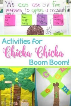 Chicka Chicka Boom Boom Activities for Kindergarten and first grade classrooms.  Reading, Art, Crafts, and writing.  Perfect for Back to School!