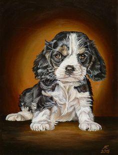"""Картина маслом """"Серьезный щенок. Портрет щенка кавлер кинг чарльз спаниеля"""". Нажмите на картинку, чтобы посмотреть увеличенное изображение."""