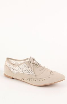 Qupid Lace Inset Oxford Flats PacSun