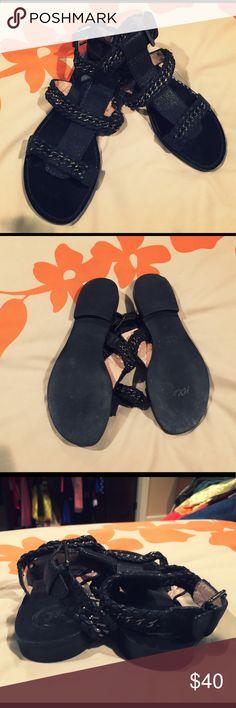 Modern vintage leather strappy sandals Modern Vintage black leather strappy sandals Modern Vintage Shoes Sandals