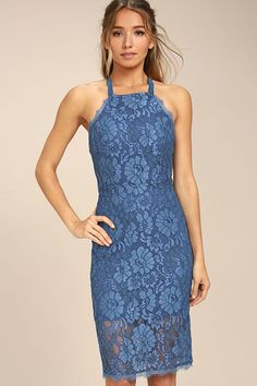 12a2e1ab35d0 Lulus | Wishful Wanderings Blue Lace Bodycon Midi Dress | Size Large | 100%  Polyester