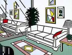 Interior With Mirrored Wall, 1991, Roy Lichtenstein