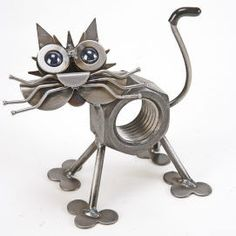 Metal Animal Sculptures | Chubby Nut the Cat – Recycled Metal Animal Sculpture – Made in USA ...