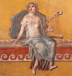 Roman Fresco  --  Depicting a harpist  --  Circa 50 CE  --  Boscoreale, Italy  --  Located roughly 1 mile north of Pompeii.