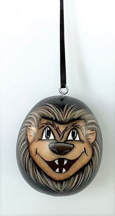 Hand Painted Gourds, Black Ribbon, Werewolf, Christmas Ornaments, Halloween, Holiday Decor, Mini, Silver, Color