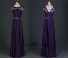 deep purple chiffon dresses A-line long prom dresses unique appliques bridesmaid dress charming lace homecoming dress latest evening gowns