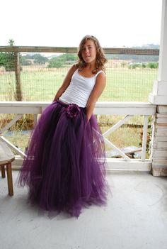 Long Floor Length Tutu skirt for Teen - Adult Choose your color or colors. $48.00, via Etsy.