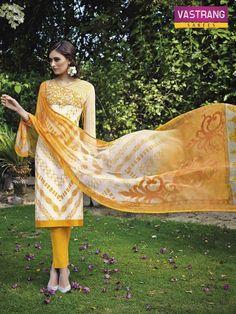 yellow printed salwaar kameez