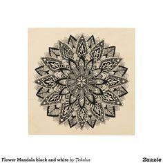 Flower Mandala black and white Wood Wall Art