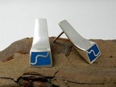 earrings geometric minimal line sterling silver blue by LigiaRocha