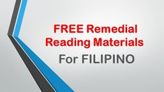 FREE English Remedial Reading Materials Helping and assisting your pupils in reading English Materials is considered imperative in the . Kindergarten Lesson Plans, Reading Material, Filipino, English, How To Plan, Free, English Language