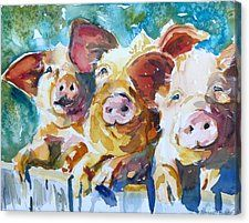 Pig Canvas Print featuring the painting Wee 3 Pigs by P Maure Bausch