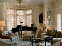 This formal sitting area is perfect for casual conversation over the subdued melodies of the grand piano. Full of decadent details, from the lavish crown molding to the soft sheer drapery to the cozy furnishings, this room is sure to please your guest.
