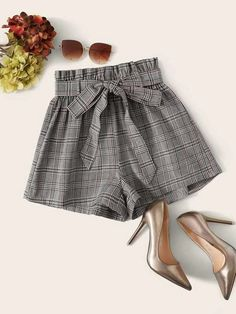 ((Affiliate Link)) Description Style:	Casual Color:	Grey Pattern Type:	Plaid Details:	Belted, Paper Bag Waist Type:	Wide Leg Season:	Summer Composition:	80% Cotton, 20% Polyester Material:	Cotton Fabric:	Slight Stretch Sheer:	No Fit Type:	Regular Waist Type:	High Waist Closure Type:	Elastic Waist Belt:	Yes