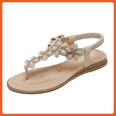 72ba1b310accb Insun Women s Beige Beaded T Strap Sandals 8.5 US - Sandals for women  ( Amazon