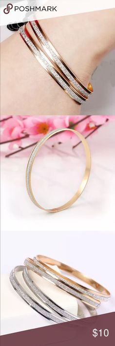 2Pc ✨NEW✨Polished Gold Stainless Steel Bracelets 2 Pc/Set Brand NEW Polished Bangle Gold Stainless Steel Women's Bracelet . This sale is for the silver stainless steel bracelet set. Please see other listing for the Stainless Steel Set.  Size: Diameter: 6.8cm  W: 0.5cm  Conversion : 1 inch = 2.54cm or 1cm = 0.393 inch Jewelry Bracelets
