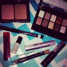 Makeup of the day.  #makeup #motd #fotd #makeupmess #makeupporn #elf #blush #bronzer #maybelline #thenudes #eyeshadow #palette #rimmel #rimmellondon #scandaleyes #liquidliner #colorwhisper #pink #lipstick #benefit #toofaced #betterthansex #mascara #buxom