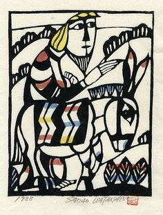 Sadao Watanabe, Donkey, 1988 woodcut, by 50 Watts, via Flickr