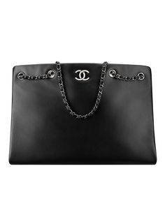 Large shopping bag, calfskin-black - CHANEL