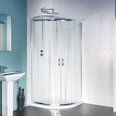 High quality quadrant shower enclosure providing style and elegance to any bathroom. Complete with two smooth sliding doors and a high polished chrome frame with toughened glass this stunning shower enclosure will create a modern look in any new bathroom Quadrant Shower Enclosures, Walk In Shower Enclosures, Electric Showers, Tall Cabinet Storage, Locker Storage, Shower Cabin, Shower Cubicles, Attic Bathroom, Bathroom Inspiration