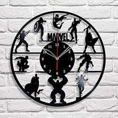 "Amazon.com: ""Handmade"" Marvel Vinyl Record Wall Clock Fan Art Decor Unique Decorative Vinyl Clock 12"" (30 cm): Home & Kitchen"