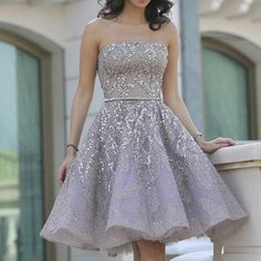 2017 Popular Grey strapless Gorgeous  A-line homecoming prom gown dress,BD00151 - US0 / Picture Color