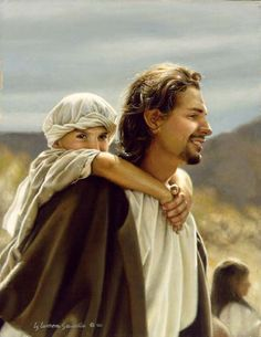 Hold on Tight Jesus carrying small boy by Liz Lemon Swindle available from Snow Goose Gallery Arte Lds, Liz Lemon Swindle, Image Jesus, Fhe Lessons, Pictures Of Jesus Christ, Jesus Pics, Lds Art, Jesus Painting, Jesus Christus